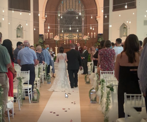 A View Down the Aisle at the Parish House